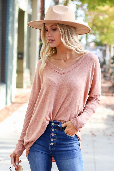 Camel - Brushed Knit Ribbed Sleeve Top