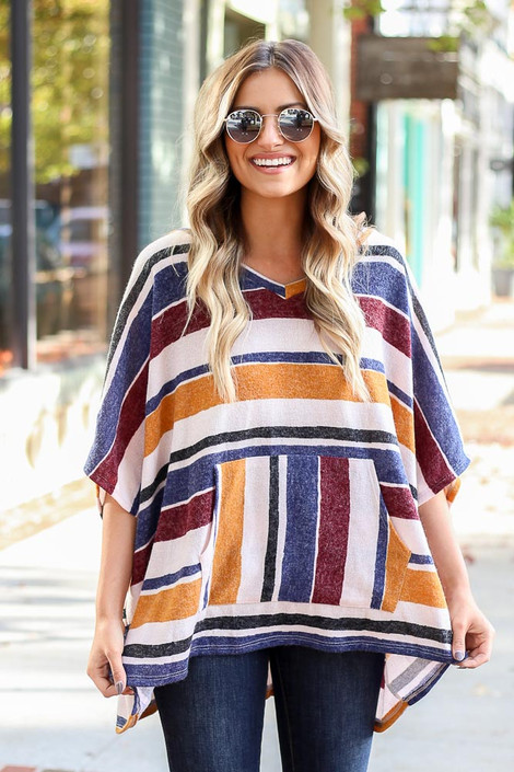 Mustard - Striped Oversized Poncho Top