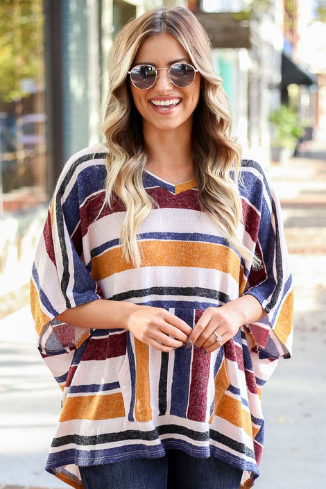 Mustard - Striped Oversized Poncho Top Front View