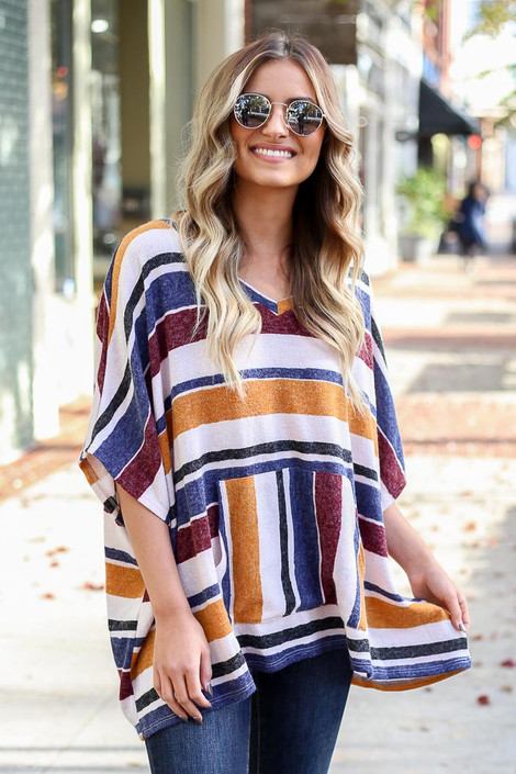 Mustard - Striped Oversized Poncho Top on Model
