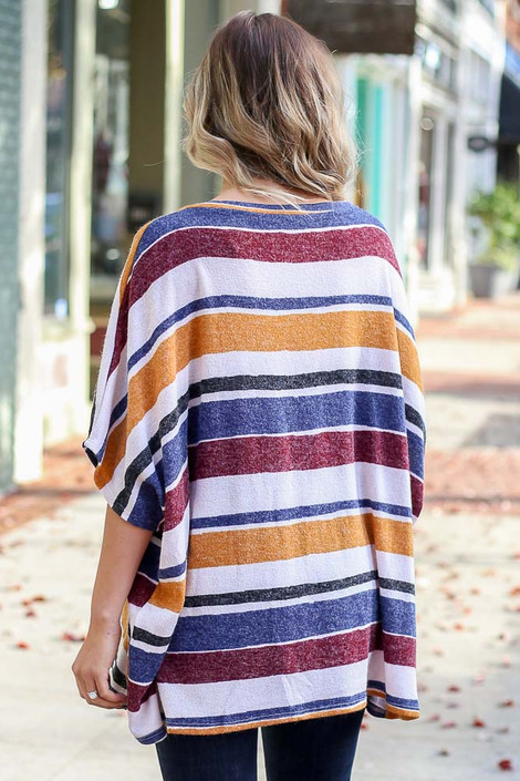 Mustard - Striped Oversized Poncho Top Back View