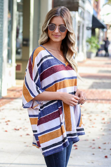 Mustard - Striped Oversized Poncho Top Side View