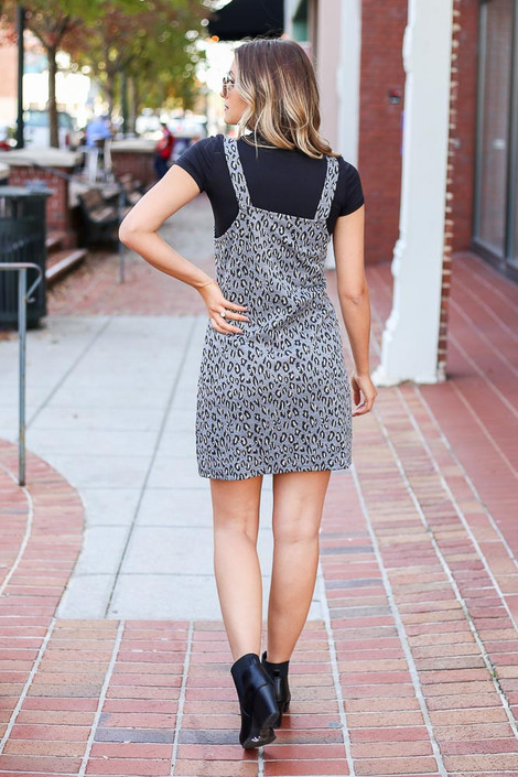 Grey - Leopard Pinny Dress from Dress Up Back View