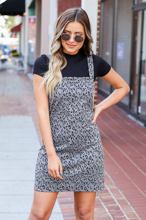 Grey - Leopard Pinny Dress from Dress Up