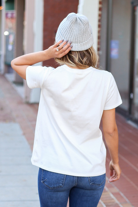 White - Back view of a white Sunday Fun Day tee