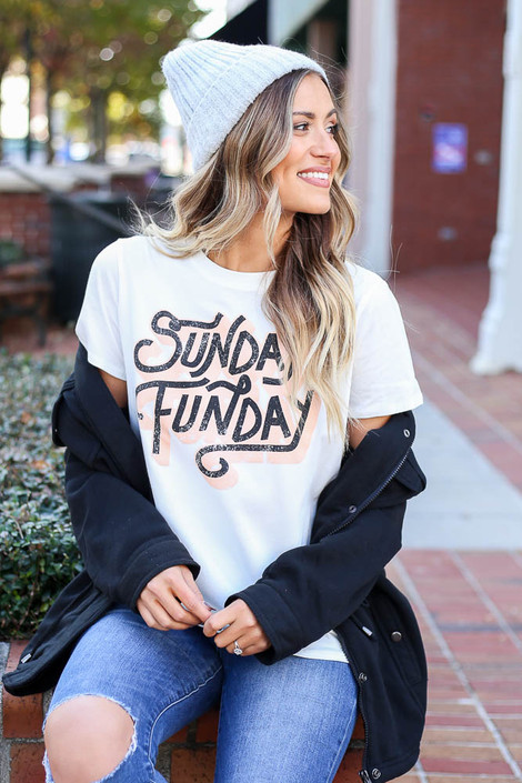 White - Sunday Funday Graphic Tee with Jacket