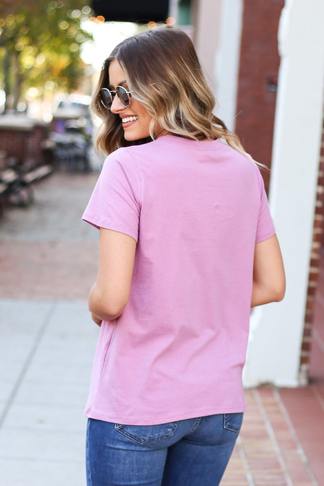 Dress Up Model wearing Purple Good Mood Graphic Tee Back View