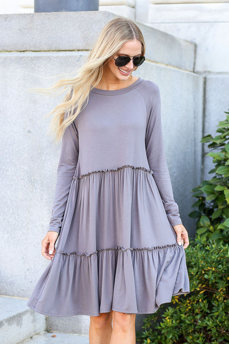 Charcoal - Tiered Long Sleeve Dress Front iew