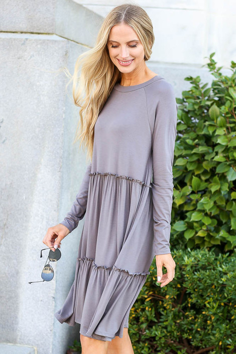 Charcoal - Tiered Long Sleeve Dress Side View