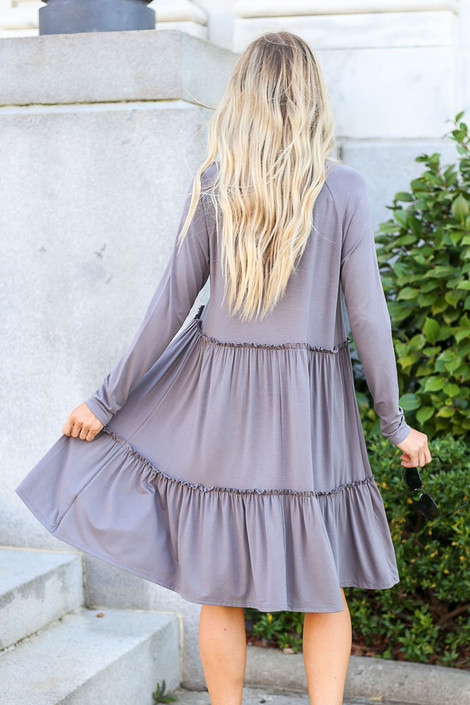 Charcoal - Tiered Long Sleeve Dress Back View
