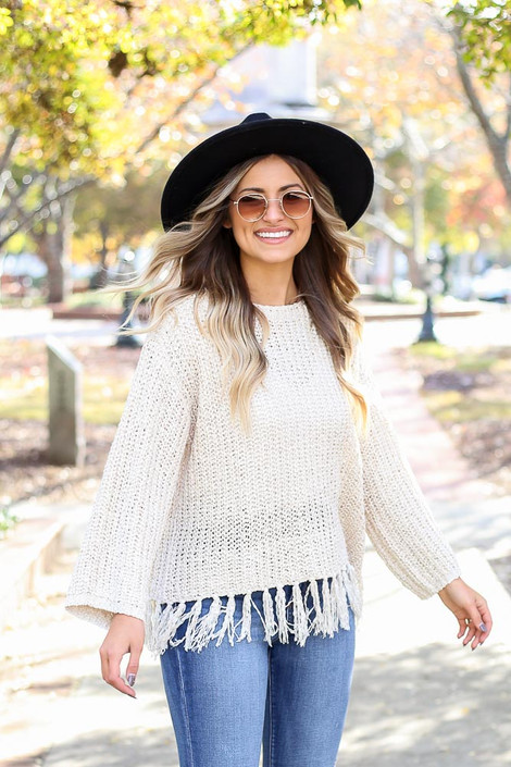 Ivory - Lightweight Knit Fringe Sweater Side View