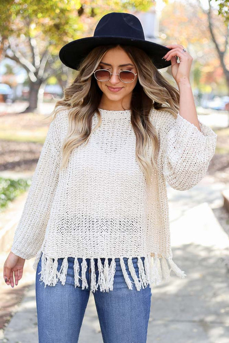 Ivory - Lightweight Knit Fringe Sweater