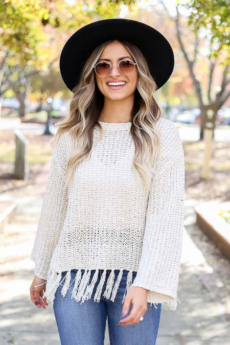 Ivory - Lightweight Knit Fringe Sweater Front View