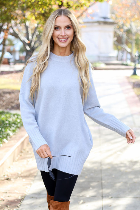 Model wearing the Denim Brushed Knit Pocketed Sweater from Dress Up - Front View