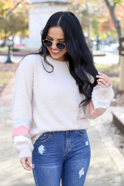 Taupe - Distressed Eyelash Knit Balloon Sleeve Sweater