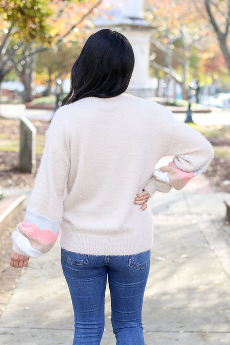Taupe - Distressed Eyelash Knit Balloon Sleeve Sweater Back View