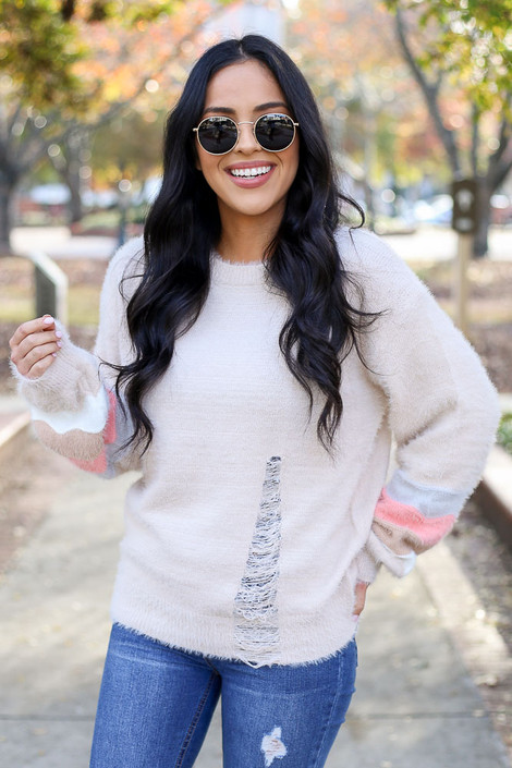 Taupe - Distressed Eyelash Knit Balloon Sleeve Sweater Untucked