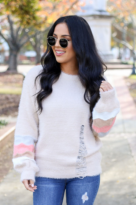 Taupe - Distressed Eyelash Knit Balloon Sleeve Sweater Front View