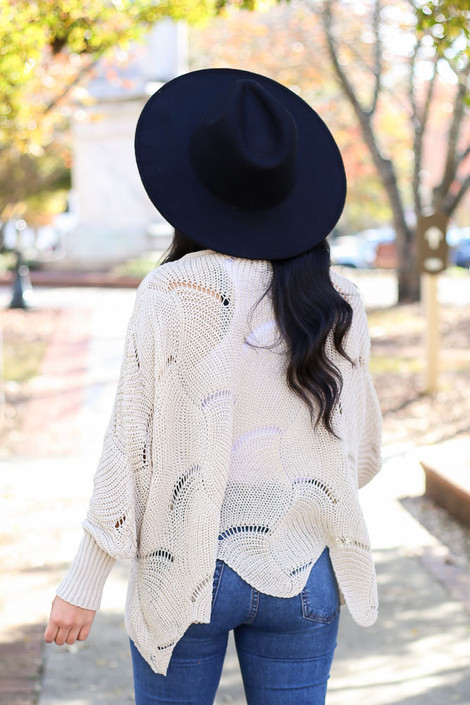 Taupe - Open Knit Sweater Back View