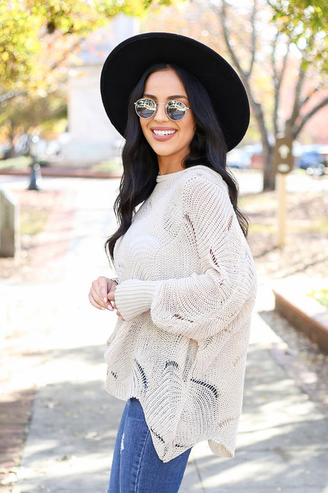 Dress Up Model wearing Taupe Open Knit Sweater Side View