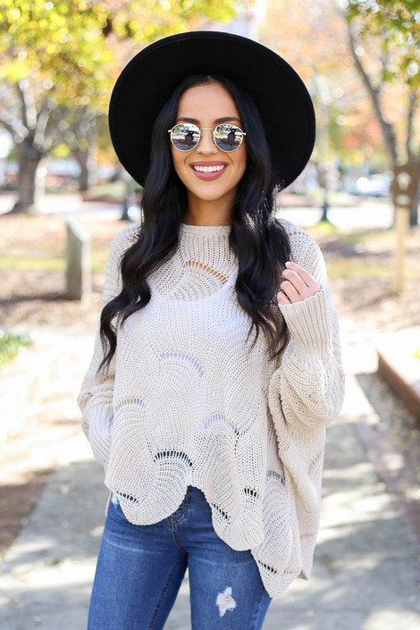Dress Up Model wearing Taupe Open Knit Sweater