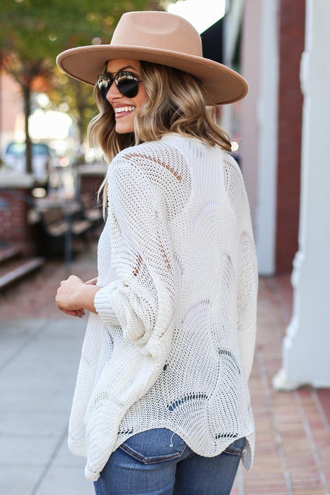 White - Open Knit Sweater Back View