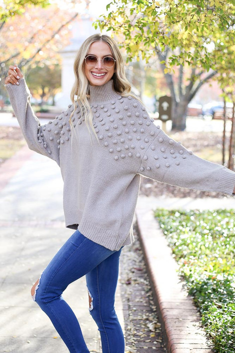 Grey - Mock Neck Pom Pom Sweater from Dress Up Boutique