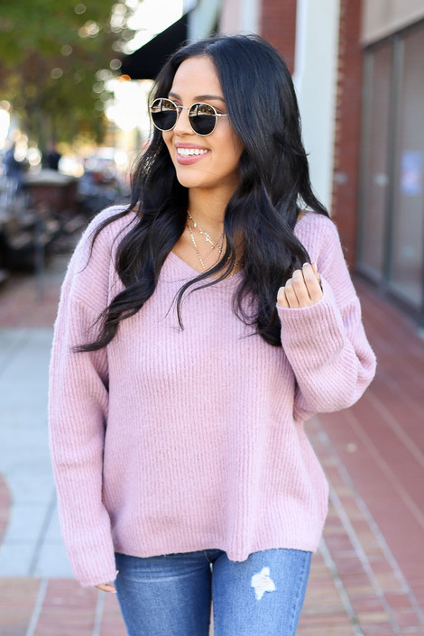 Model wearing Blush Lace Up Back Sweater Front View