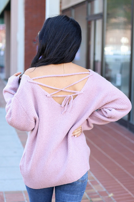 Blush - Lace Up Back Sweater Back View