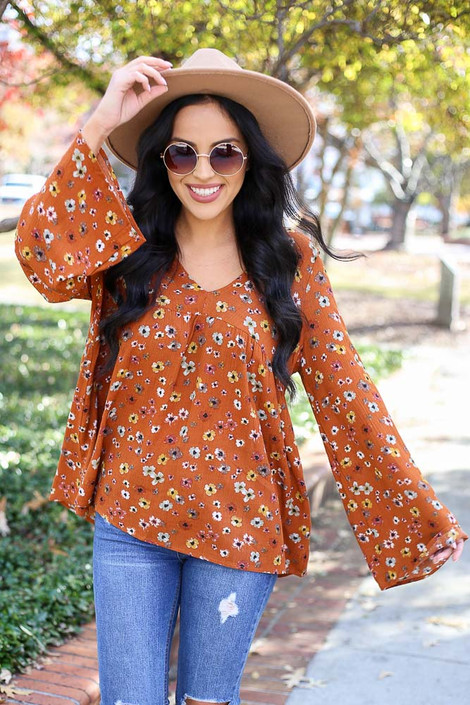 Rust - Floral Wide Sleeve Blouse