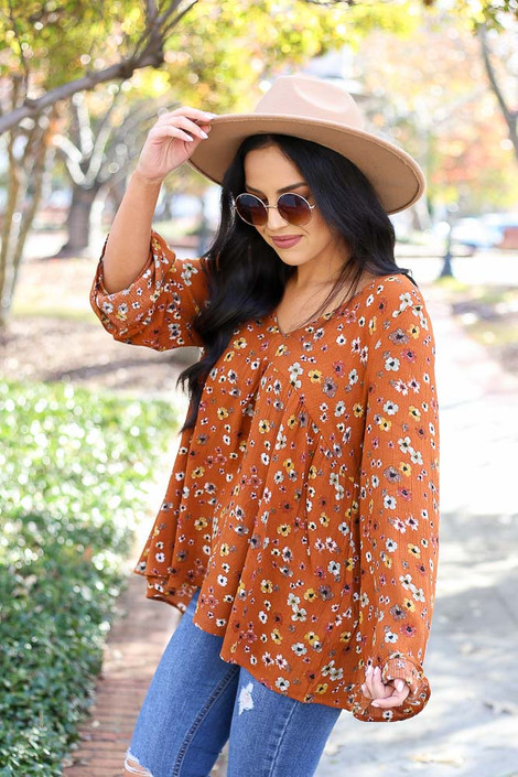 Rust - Floral Wide Sleeve Blouse Side View