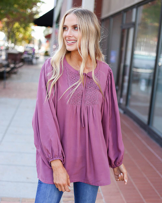 Mauve - Crochet Balloon Sleeve Blouse