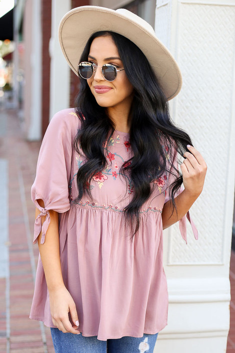 Blush - Embroidered Tie Sleeve Babydoll Blouse