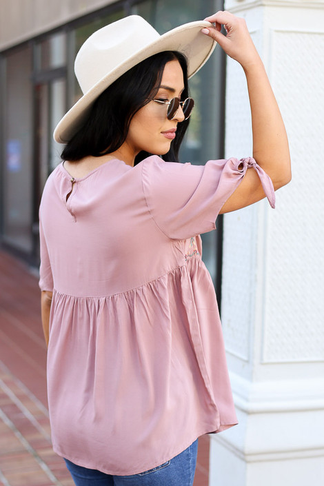 Blush - Embroidered Tie Sleeve Babydoll Blouse Back View
