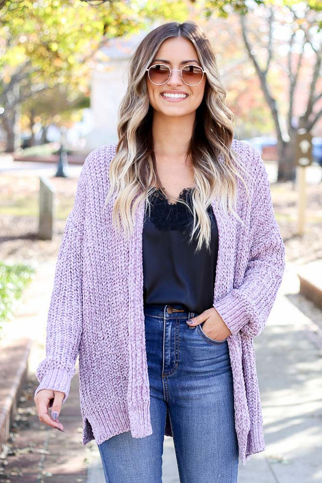 Purple - Luxe Chenille Cardigan