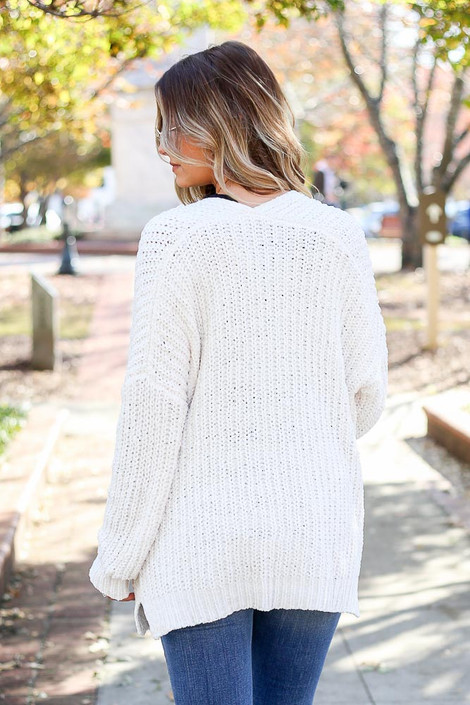 Ivory - Luxe Chenille Cardigan Back View