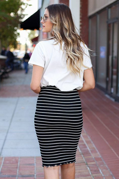 Dress Up Model wearing Black Striped Lettuce Hem Skirt Back View