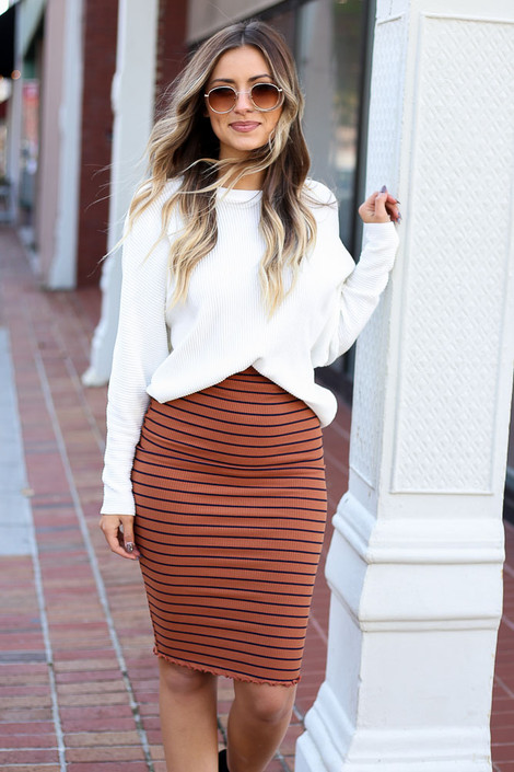 Dress Up Model wearing Rust Striped Lettuce Hem Skirt Front View