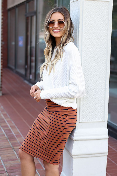 Rust - Striped Lettuce Hem Skirt Full View