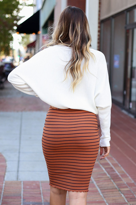 Dress Up Model wearing Rust Striped Lettuce Hem Skirt Back View