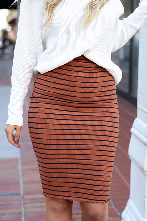 Rust - Striped Lettuce Hem Skirt Detail View