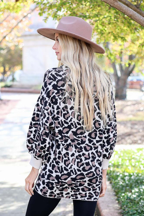 Leopard - Balloon Sleeve Sweater Back View