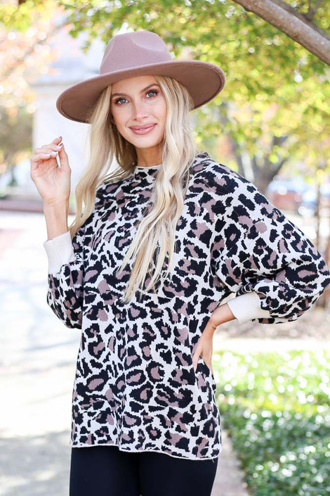 Leopard - Balloon Sleeve Sweater Front View