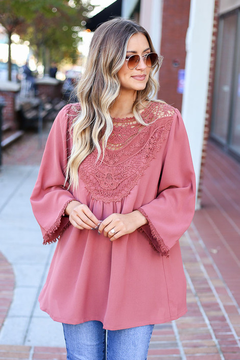 Mauve - 3/4 Sleeve Crochet Tunic Front View