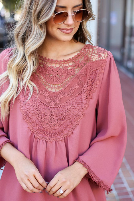 Mauve - 3/4 Sleeve Crochet Tunic Detail View
