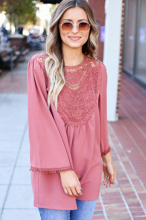 Mauve - 3/4 Sleeve Crochet Tunic