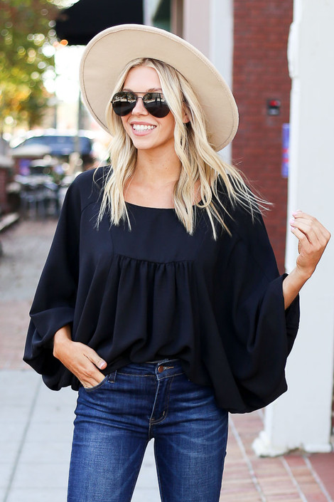 Black - Batwing Sleeve Blouse