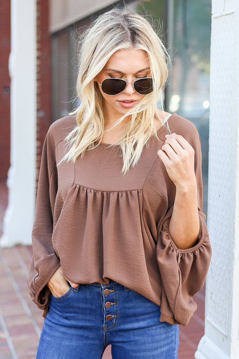 Dress Up Model wearing Taupe Batwing Sleeve Blouse