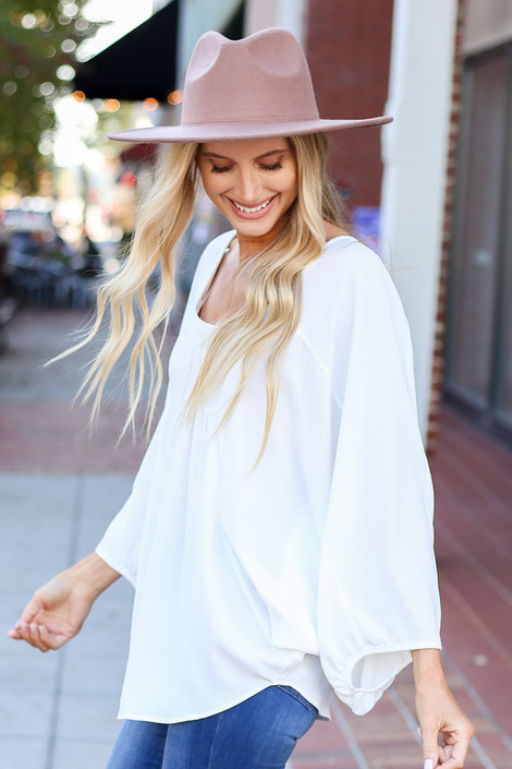 Dress Up Model wearing Ivory Batwing Sleeve Blouse Side View