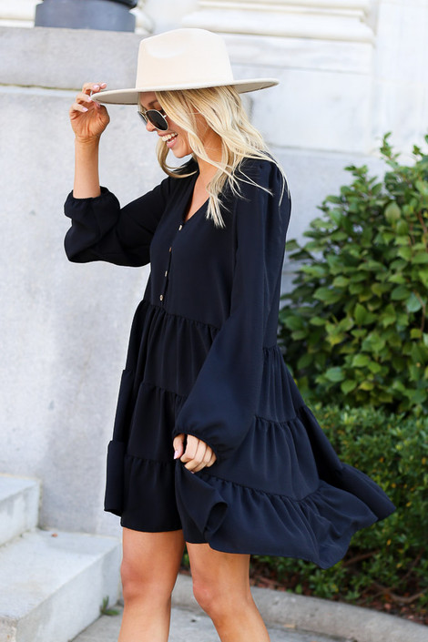 Dress Up Model wearing Black Button Front Tiered Dress Side View